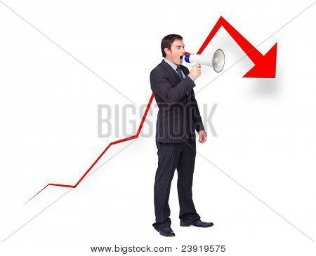 Unsuccessful young businessman using a megaphone with a curve going down