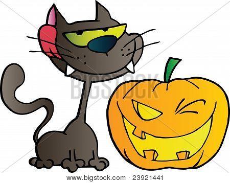 Black Cat And Winking Halloween Jackolantern Pumpkin