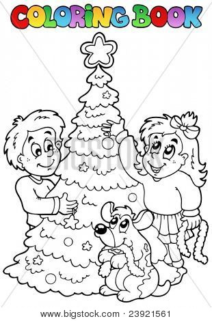 Coloring book Christmas topic 3 - vector illustration.
