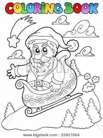 Coloring book Christmas topic 6 - vector illustration.