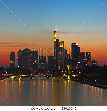 Frankfurt Skyline And Financial District After Sunset