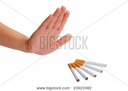 The hand rejects cigarette