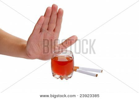 The hand rejects cigarette and alcohol
