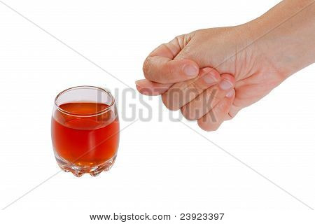 The hand rejects alcohol