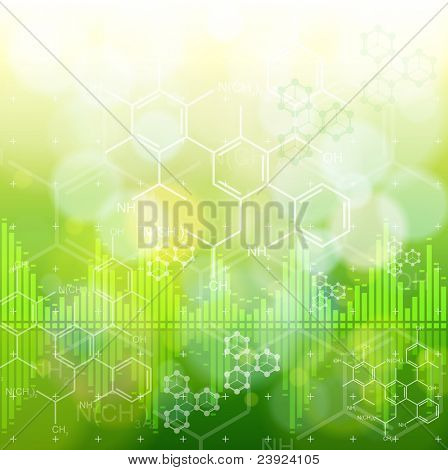 ecology background: chemical formulas, digital wave & green bokeh abstract light. Bitmap copy my vector ID 73068163