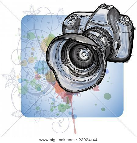 Color sketch of a modern digital photo camera  & floral calligraphy ornament - a stylized orchid, color paint background