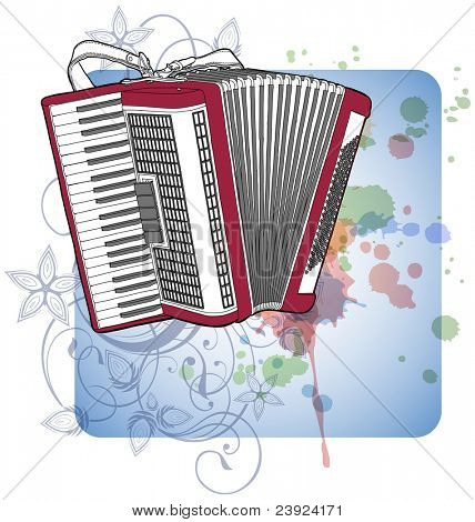 Concert Accordion & floral calligraphy ornament - a stylized orchid, color paint background. Bitmap copy my vector ID 70185763