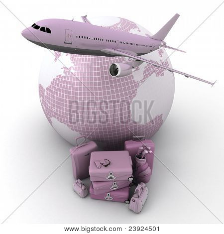 A flying plane, the Earth and a pile of luxurious luggage rendered in pink shades