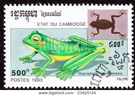 Cambodian Postage Stamp Wallace's Flying Frog, Rhacophorus Nigropalmatus, Abah River