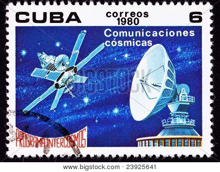 Canceled Cuban Postage Stamp Satellite Dish Communication, Outer Space Stars