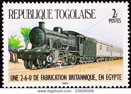 Canceled Togo Postage Stamp Railroad Steam Locomotive Train Cars Egypt