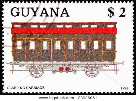 Canceled Guyanan Train Postage Stamp Old Railroad Sleeping Carriage Car