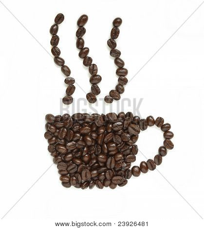 Coffee Beans Make Coffee Cup Shape