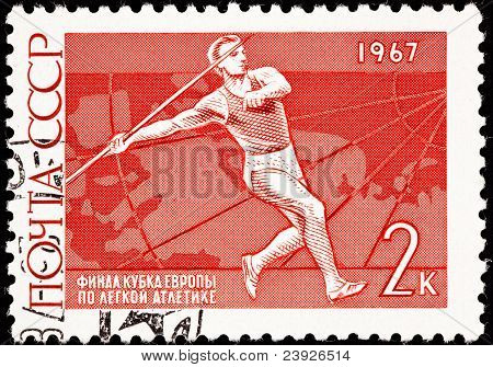 Canceled Soviet Russia Postage Stamp Man Throwing Javelin Sport Competition
