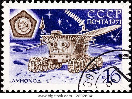 Canceled Soviet Russia Post Stamp Lunokhod Moon Explorer Probe