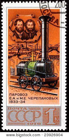 Soviet Russia Stamp Yefim Miron Cherepanovs Locomotive Designers