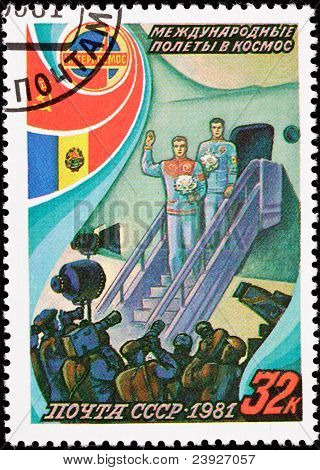 Soviet Postage Stamp Cosmonauts Exit Airplane Press Conference