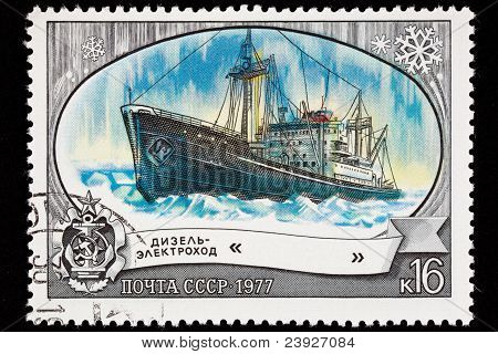 Canceled Soviet Russia Postage Stamp Icebreaker Ship Lena, Arctic Ice