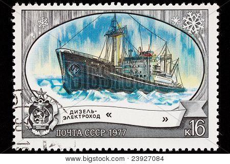 Canceled Soviet Russia Postage Stamp Icebreaker Ship Lena, Arctic Ice