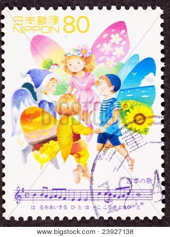 "Stamp Fairy Children Singing ""song Of Seasons"""