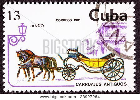 Canceled Cuban Postage Stamp Horse Team Pulling Convertible Landau Carriage