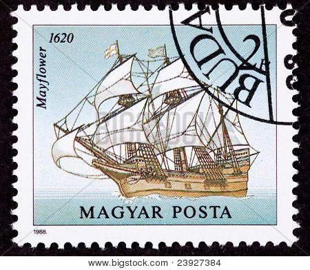 Canceled Hungarian Postage Stamp Mayflower Sailing Ship Pilgrams New World