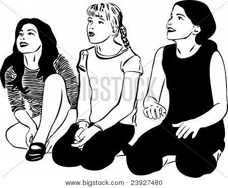 sketch of three girls with girlfriends