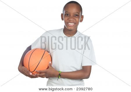 Boy Holding A Basketball Ball