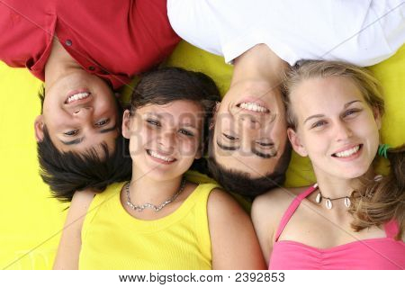 Happy Smiling Teens Group