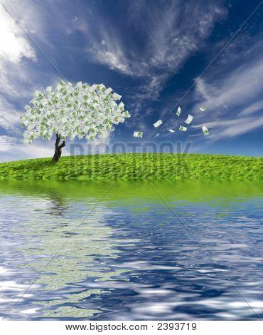 Árbol del efectivo con reflexión