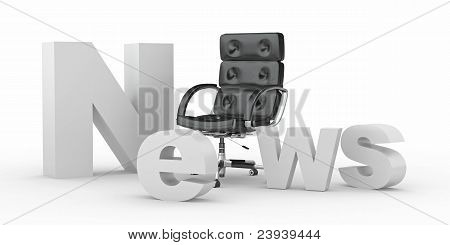 Text News With Emty Office Armchair