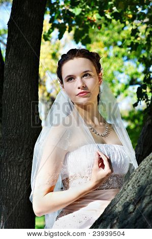 Beautiful Bride In Wedding Dress Stands Near Tree In Park
