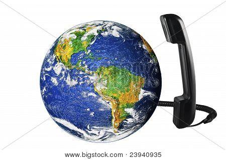 Telefoon met Earth globe