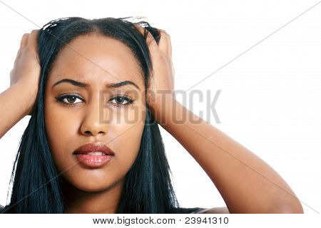 Girl headache or feeling sick