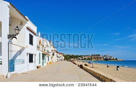 a view of Botigues de Mar, the coastal promenade of Altafulla, Catalonia, Spain