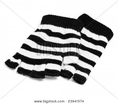 a pair of striped fingerless gloves on a white background