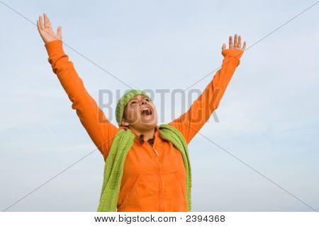 Youth Praising Or Singing