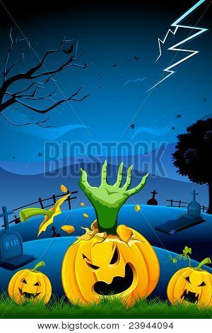 hand of witch coming out of broken pumpkin
