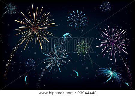 colorful fire cracker blast in sky