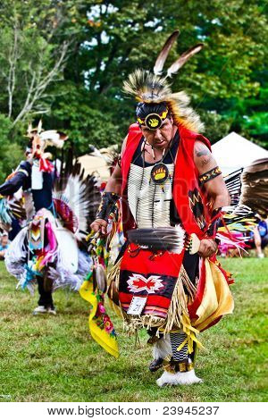 YORKTOWN HEIGHTS, NY - SEPTEMBER 25: Unidentified Native American Indian man dances at the FDR  Pow Wow on September 25, 2011 in Yorktown Heights, NY