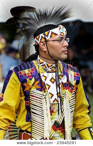 YORKTOWN HEIGHTS, NY - SEPTEMBER 25: Unidentified Native American Indian dances at the FDR  Pow Wow on September 25, 2011 in Yorktown Heights, NY