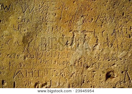 Wall With Modern Engraving