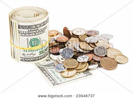 Usa Dollar Currency Monetary Concept Photo With Rolled Bank Notes And Coins