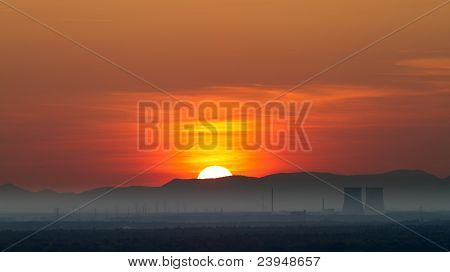 Panorama with Nuclear Power Plant in Philippsburg at sunset, Germany