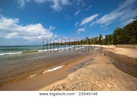 Lake Superior Sandy Beach under blue sky