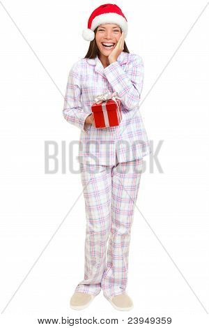 Christmas Morning Santa Woman Holding Gift