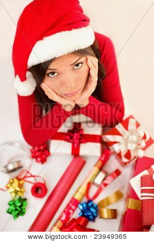 Sad Christmas Santa Woman Wrapping Gifts