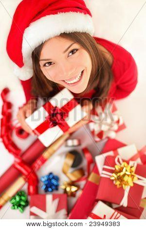 Christmas Gifts - Woman Wrapping Christmas Presents