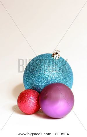 Baubles In Blue, Red And Green