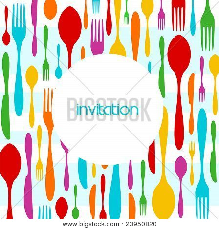 Cutlery Colorful Pattern Invitation